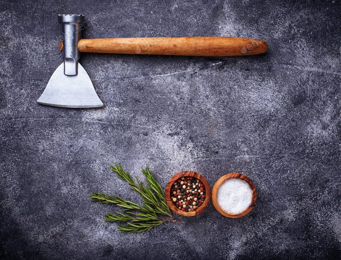 Butchers axe for meat and spices.