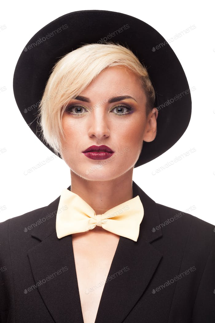 Portrait of beautiful woman wearing hat