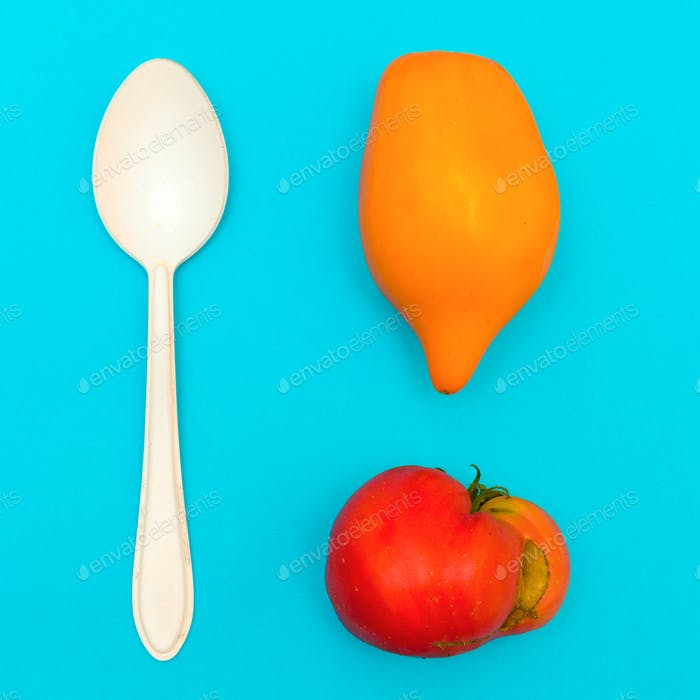 Raw Lunch. Tomatoes. Minimal art