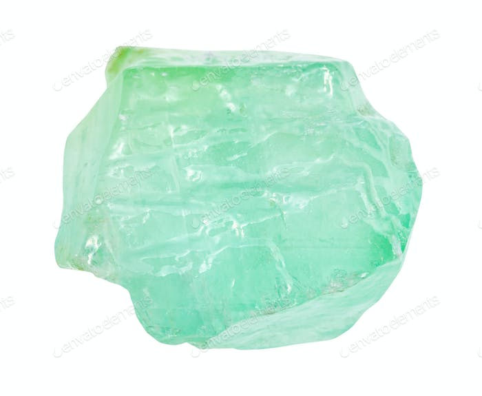 unpolished green Calcite gemstone isolated