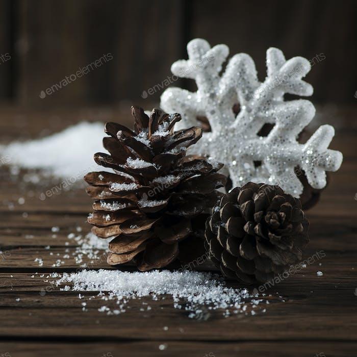 Christmas card with snow and balls