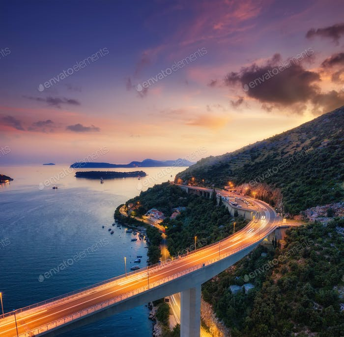 Bridge and sea during sunset. Dubrovnik, Croatia