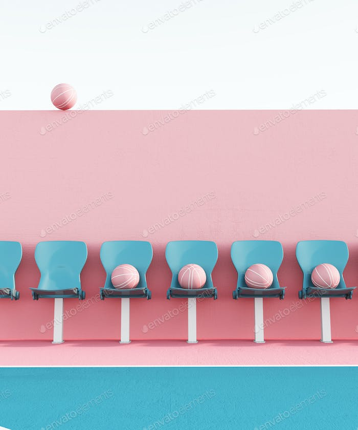 abstract pastel pink blue color basketball court with seats and ball minimalistic composition. 3d