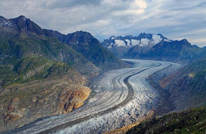 The Aletsch glacier in the alps