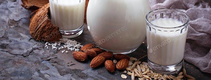 Different types of vegan lactose-free milk