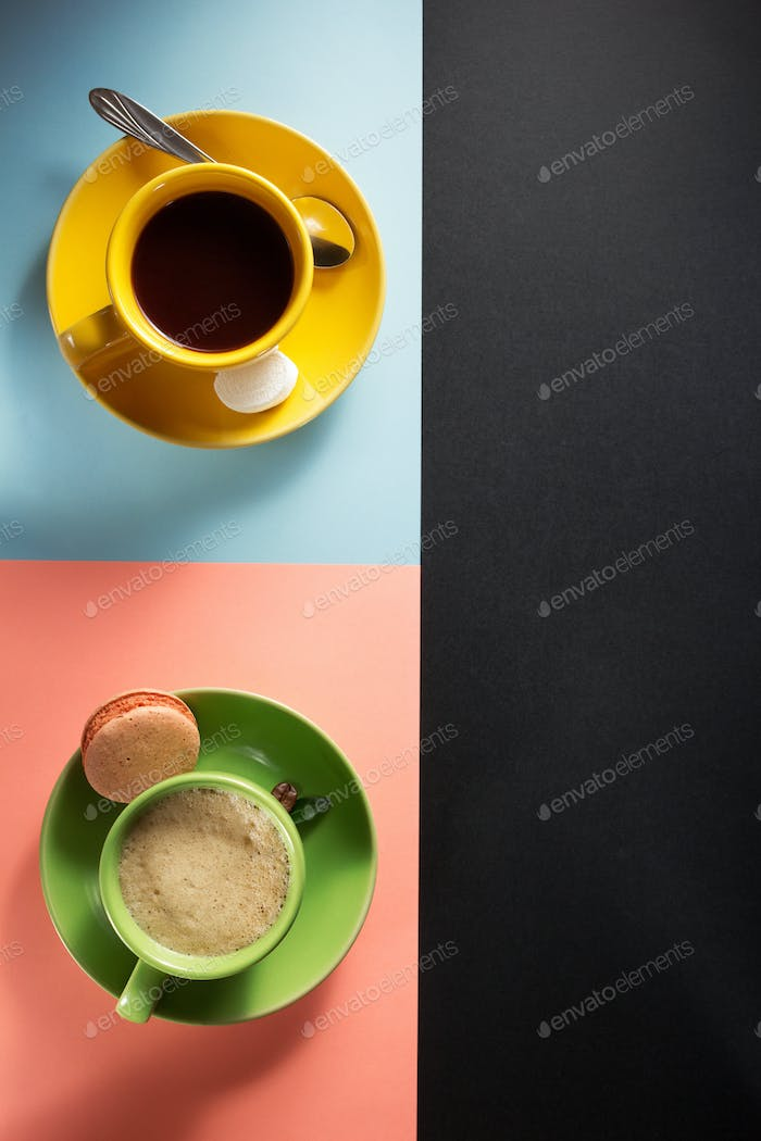 cup of coffee and cacao at paper background