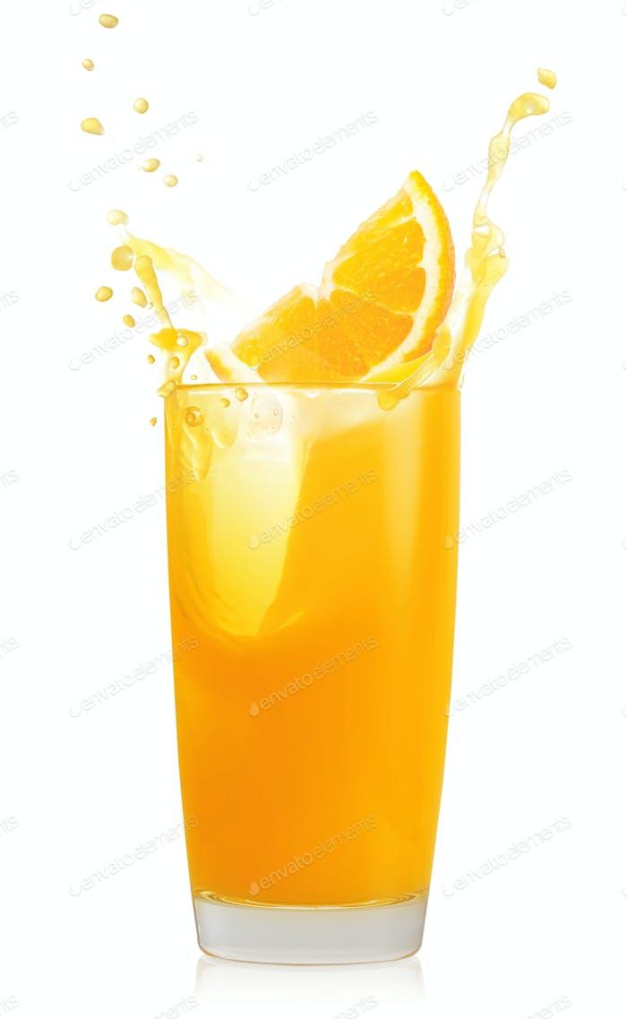 Glass of orange juice and orange slice