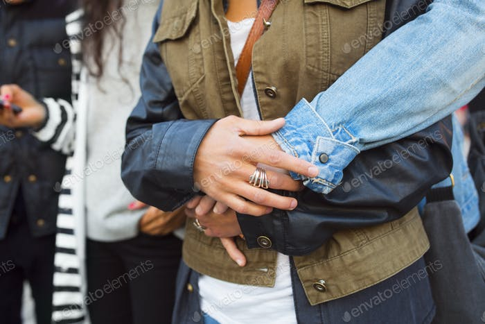 Female friends embracing