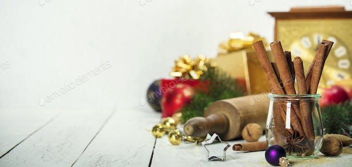 Weihnachten Backhintergrund Zutaten zum Kochen Weihnachten Backen