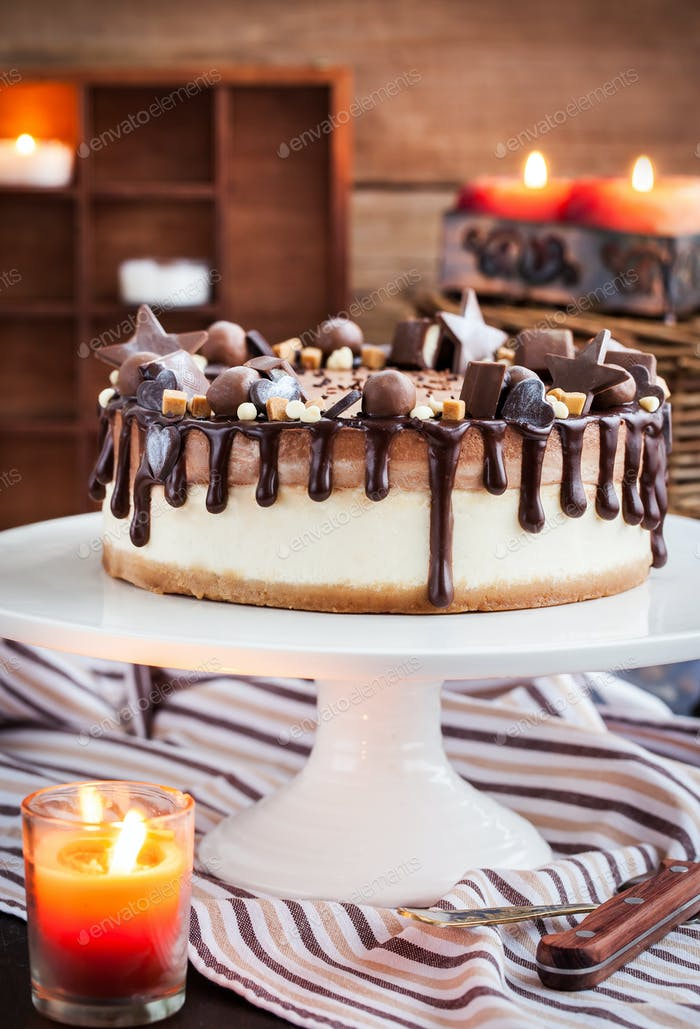 Delicious two-ply chocolate cheesecake