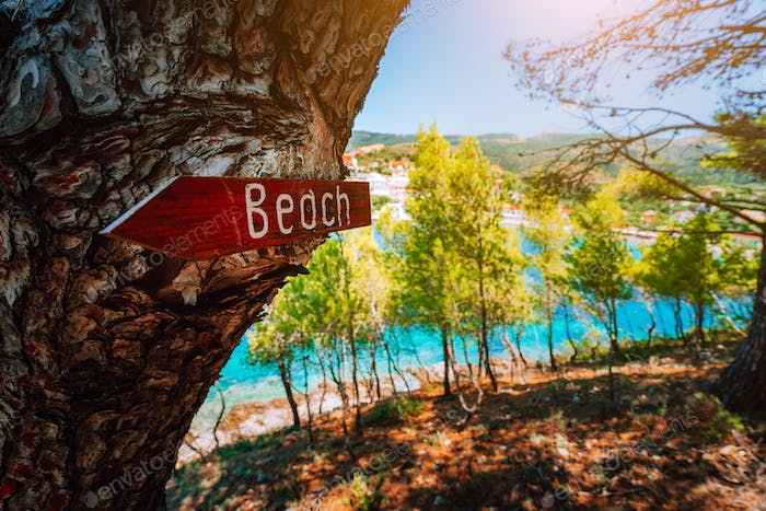 Assos village in morning light, Kefalonia. Greece. Beach wooden arrow sign on a pine tree showing