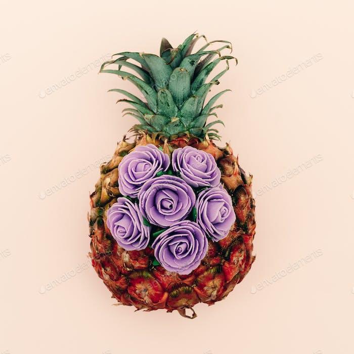 Pineapple and roses. Minimal art design