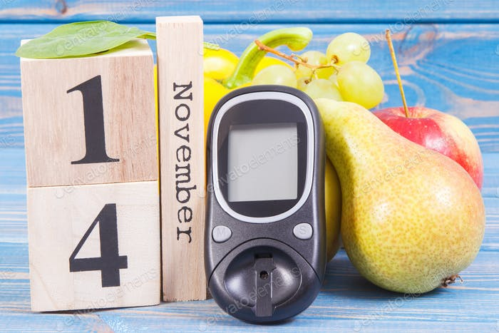 Date 14 November, glucose meter for checking sugar level and fruits with vegetables