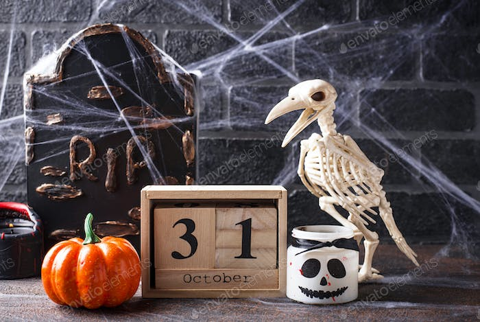 Halloween background with bird skeleton
