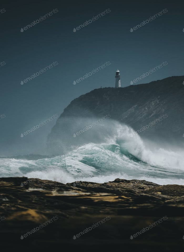 View of the Castle Point Lighthouse, New Zealand