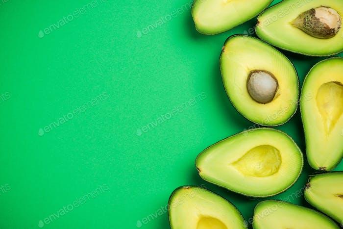 Avocado on pastel background,creative food concept