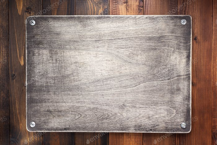 nameplate or wall sign at  wooden texture