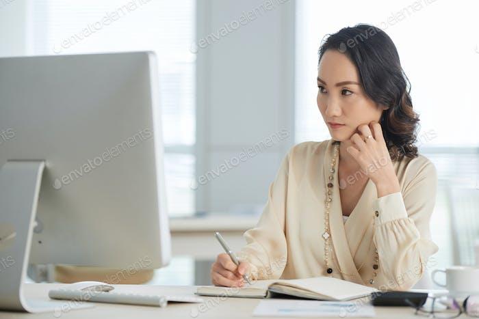 Pensive female entrepreneur