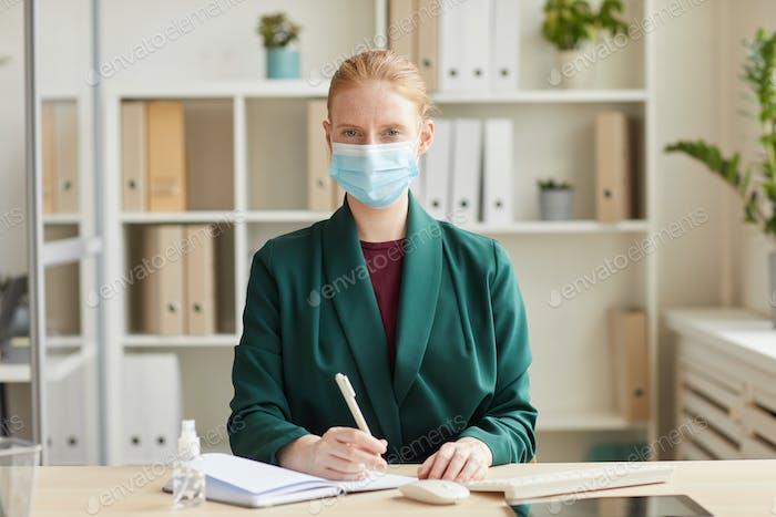 Successful Businesswoman Wearing Mask