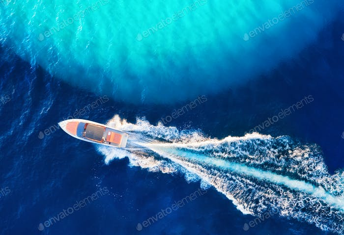 Boat and sea from drone
