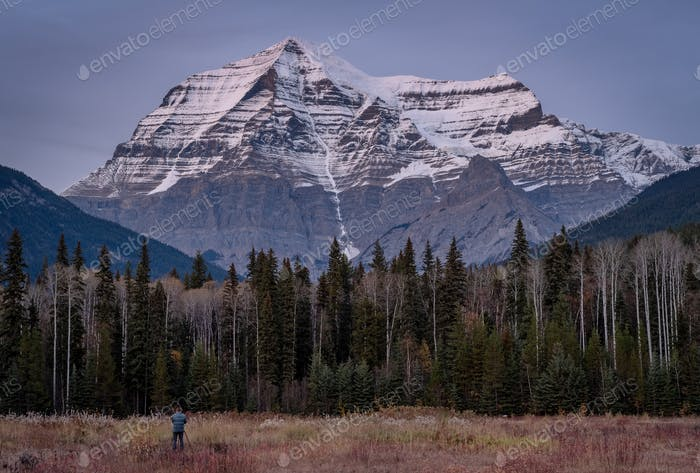 Photographer photographing Mount Robson