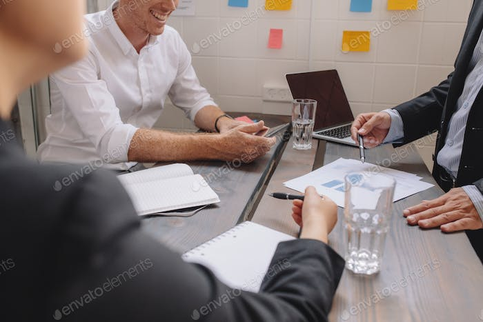 Business people discussing a financial plan