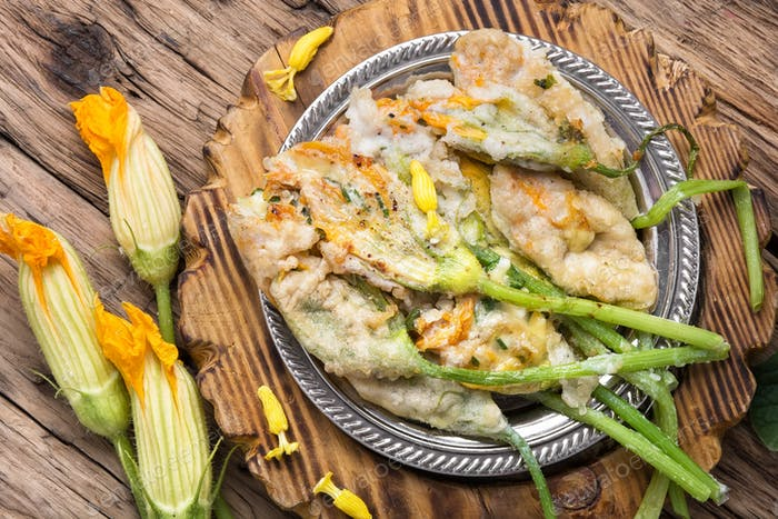 Dish of Zucchini flowers