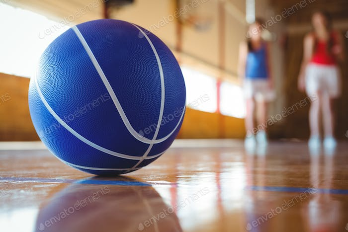 Close up of blue basketball