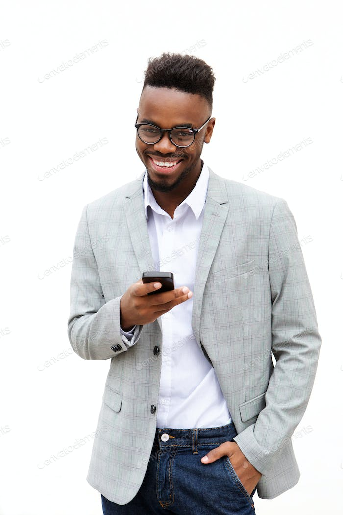 african american businessman with cell phone against white background