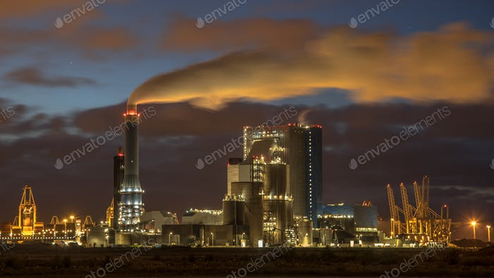 Coal powered power plant at night