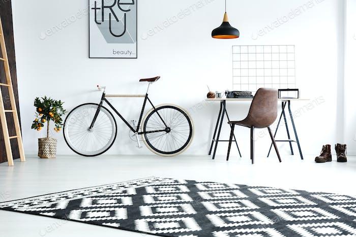 Black and white studio flat