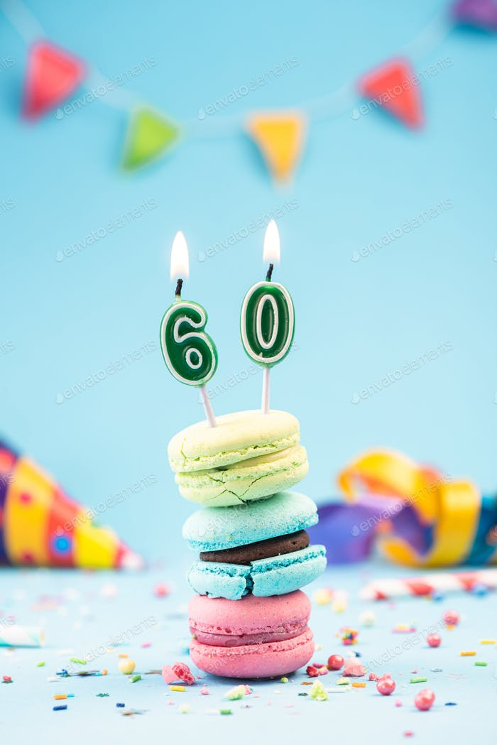 Sixtieth 60th Birthday Card with Candle in Colorful Macaroons an