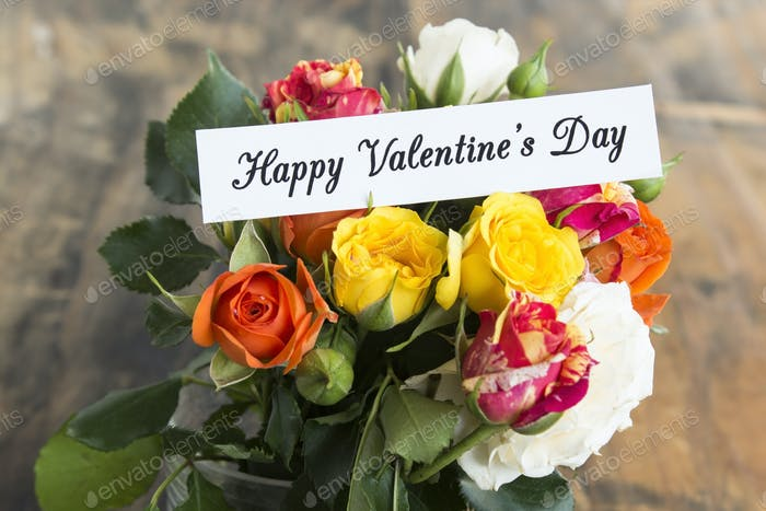Happy Valentine's  Day, Greeting Card with Bouquet of Multicolored Roses