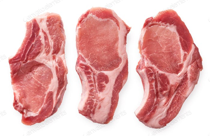 Raw pork cutlet