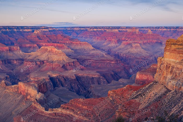 Landscape detail view of Grand canyon after sunset