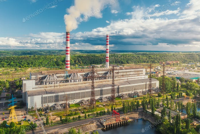 Aerial view of thermal power plant. Industrial landscape