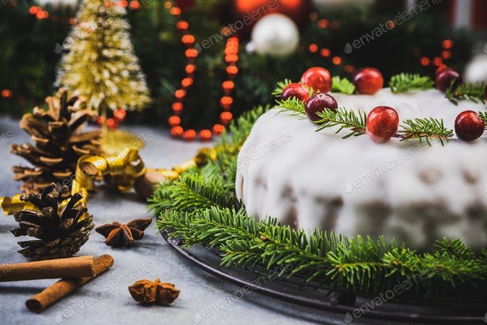 Christmas Traditional Cake on Festive Decorated Table