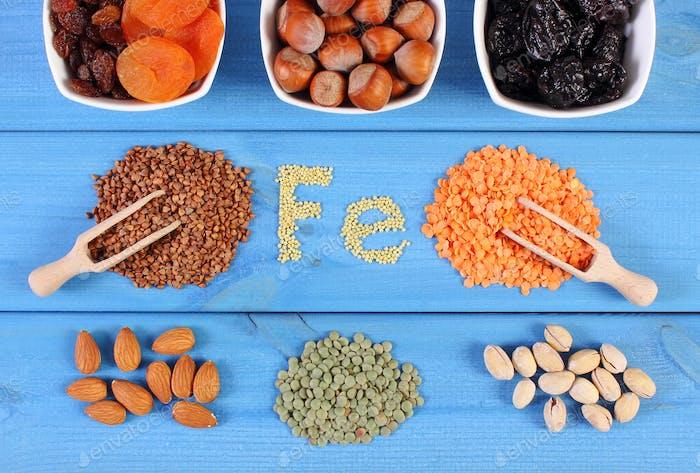 Zutaten und Produkte, die Ferrum und Ballaststoffe enthalten, gesunde Lebensmittel