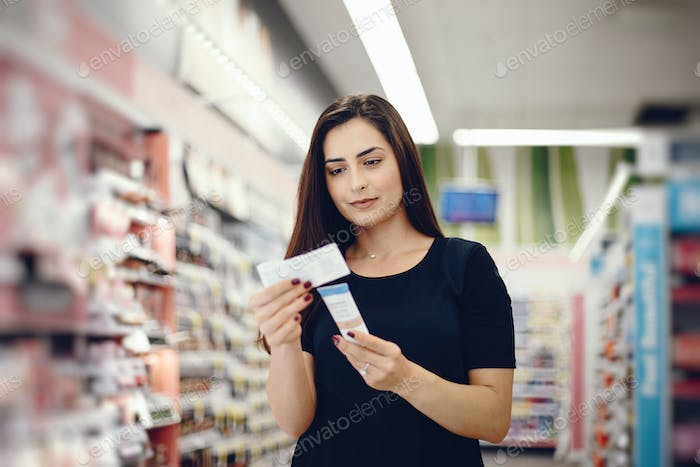 woman walks around the store