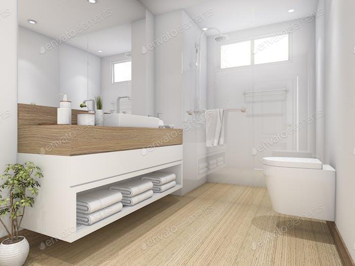 3d rendering white wood design bathroom and toilet