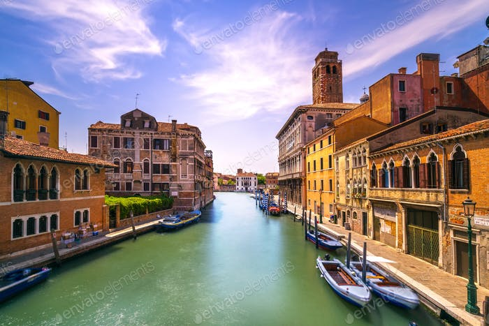 Venice canal in Cannaregio and San Geremia church landmark. Ital