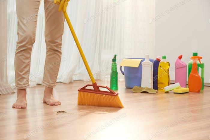 Sweeping Floor with Broom