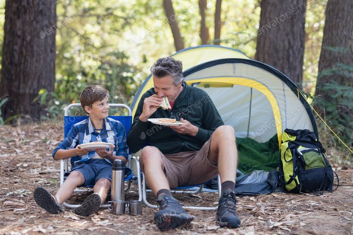 Father and son having sandwich in forest