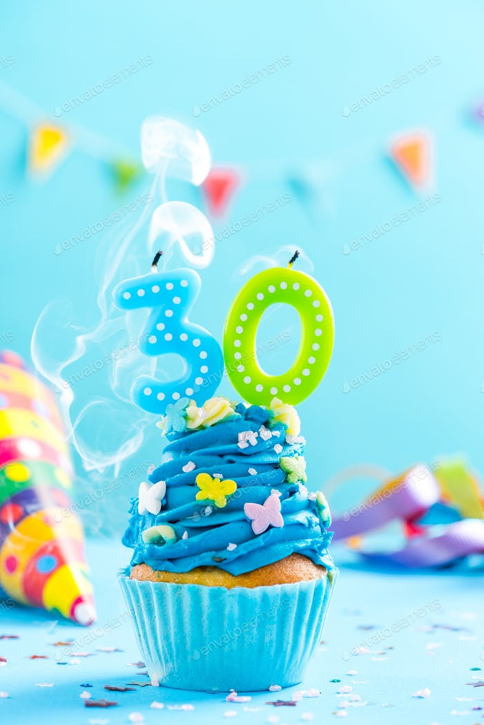 Thirtieth 30th birthday cupcake with candle blow out.Card mockup