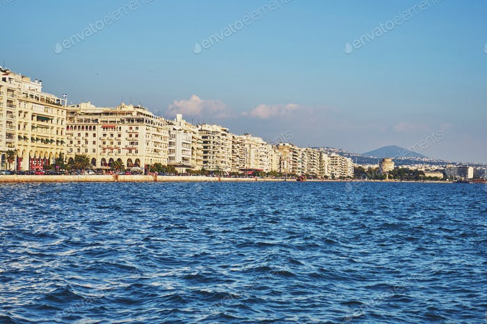 The waterfront of Thessaloniki, Greece, on a sunny day