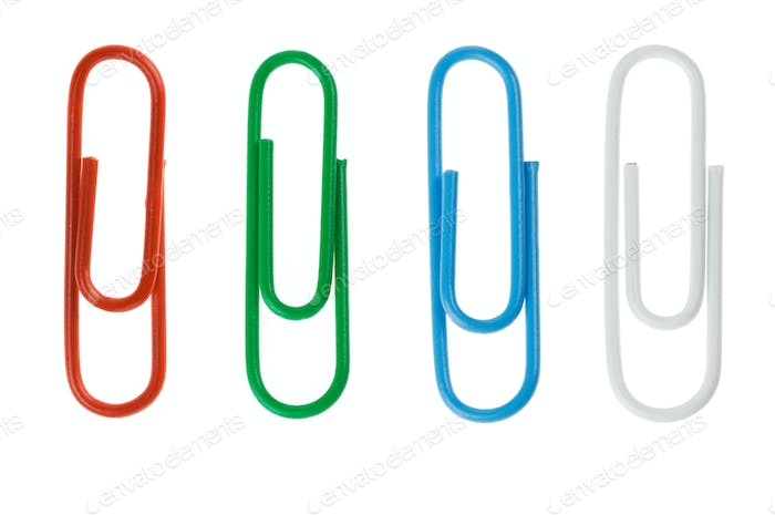 paper clip collage isolated on white