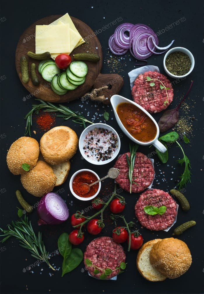 Ingredients for cooking burgers