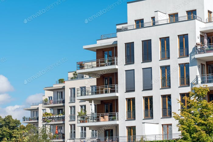 Modern white townhouses in Berlin