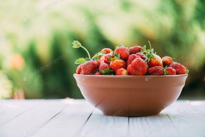 Erdbeere in Platte Nahaufnahme