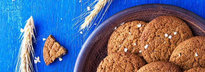 Banner of Oatmeal cookies in brown plate on blue background.